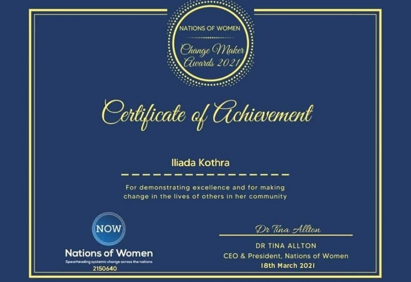 Διάκριση από τον διεθνή οργανισμό Nations of Women.